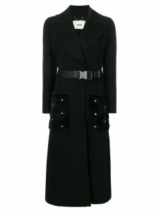 Fendi belted single-breasted coat - Black