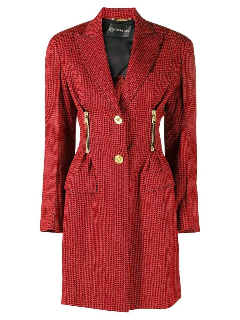 Versace patterned single breasted coat - Red
