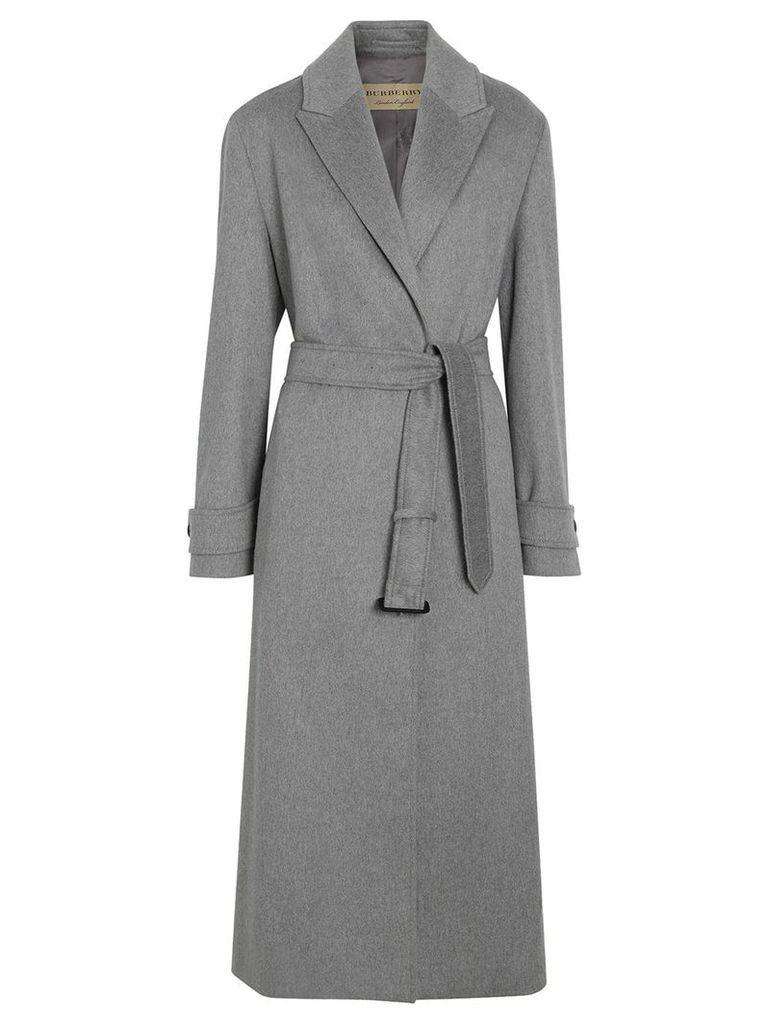 Burberry Peak Lapel Cashmere Wrap Coat - Grey
