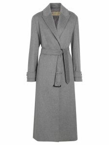 Burberry Peak Lapel Cashmere Wrap Coat - Grey