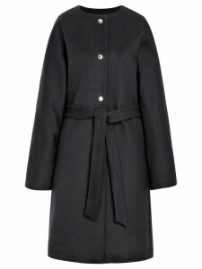 Mackintosh Navy Wool & Cashmere Belted Coat LM-085F - Blue