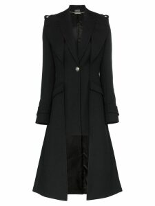 Alexander McQueen single-breasted asymmetric hem coat - Black