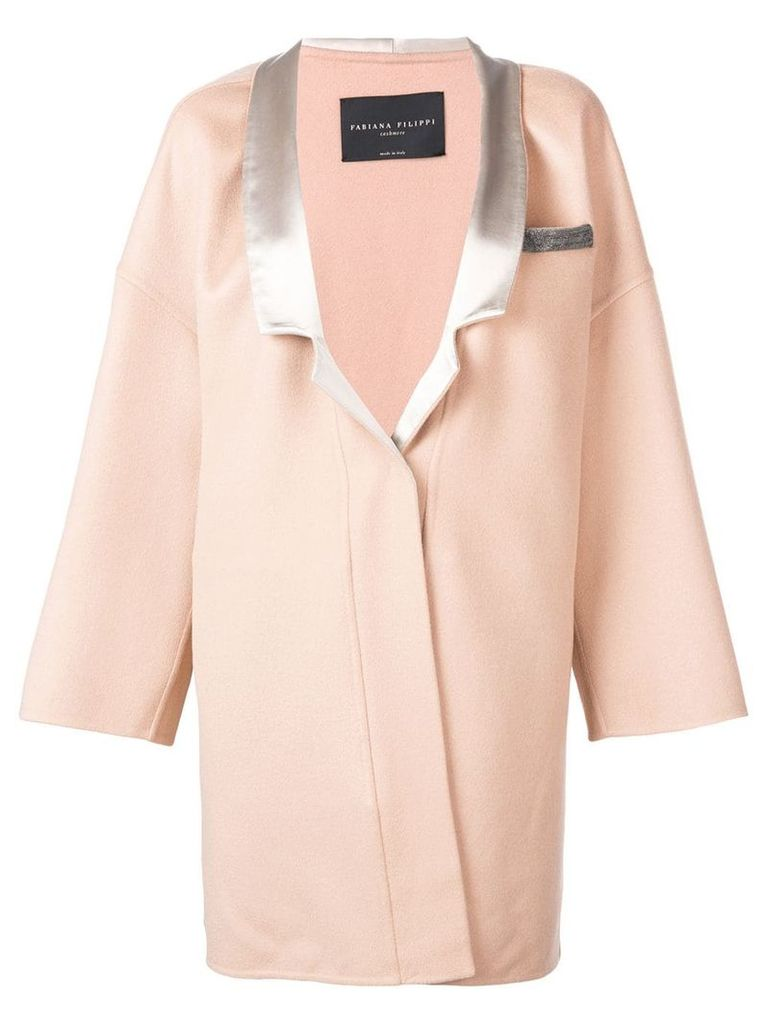 Fabiana Filippi oversized embellished pocket coat - Neutrals