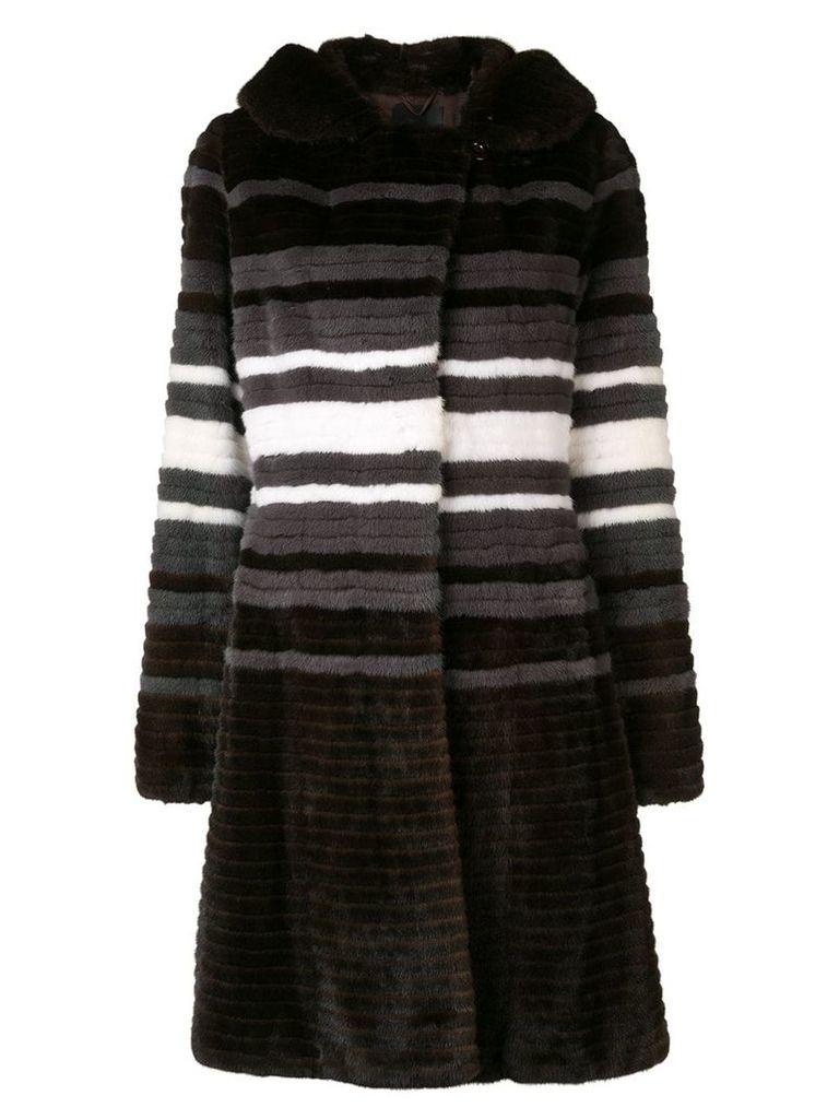 Liska contrast stripe coat - Brown