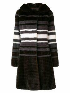Liska contrast stripe coat - Brown