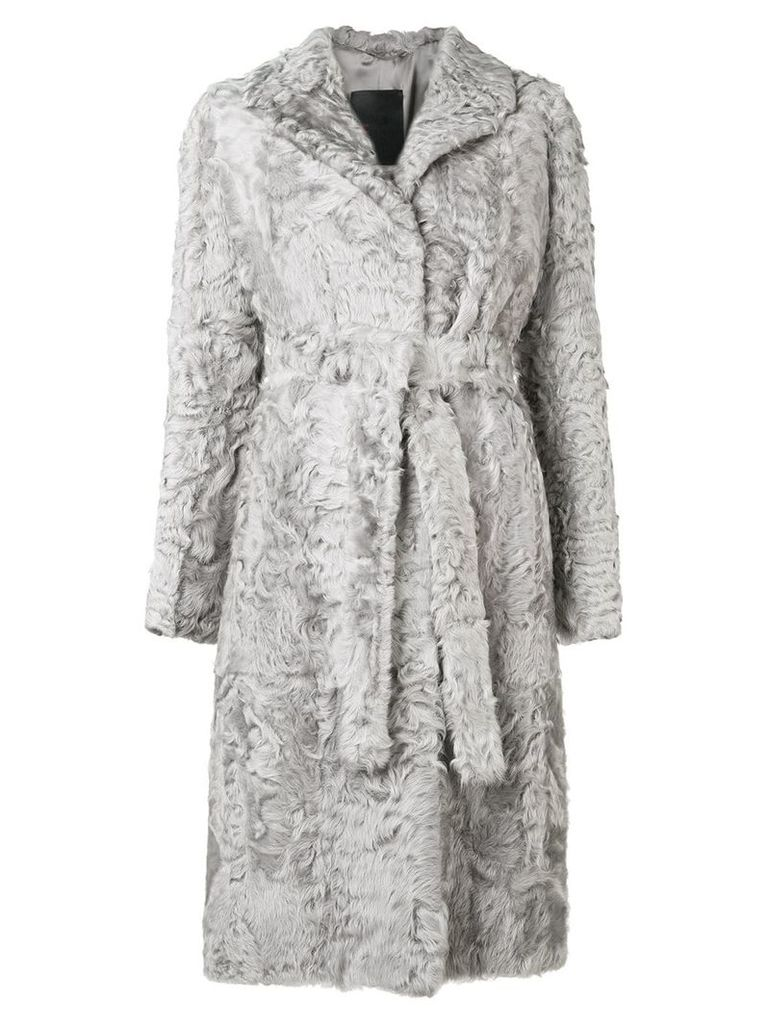 Liska belted mid-length coat - Grey
