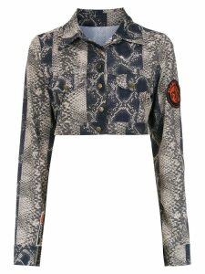 Amir Slama cropped printed jacket - Brown