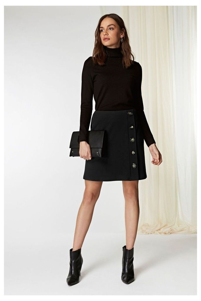 Womens Wallis Black Aline Button Scuba Skirt -  Black