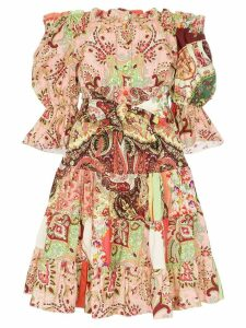 Etro off the shoulder paisley print dress - Pink