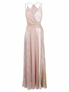 Talbot Runhof lamé panelled long dress - Pink