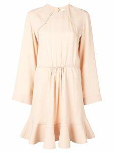 Chloé long-sleeve flared mini dress - Neutrals