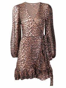 Ganni leopard print wrap dress - Brown