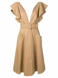 Oscar de la Renta ruffled sleeve midi dress - Brown