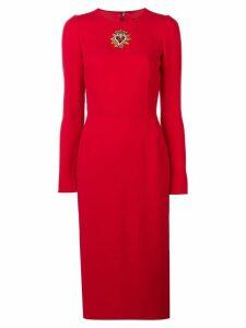 Dolce & Gabbana heart logo crystal embellished crepe dress - Red