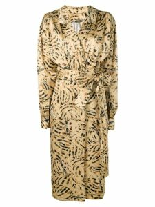 Marni patterned wrap font dress - Neutrals
