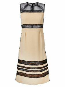 Bottega Veneta lace panel midi dress - NEUTRALS
