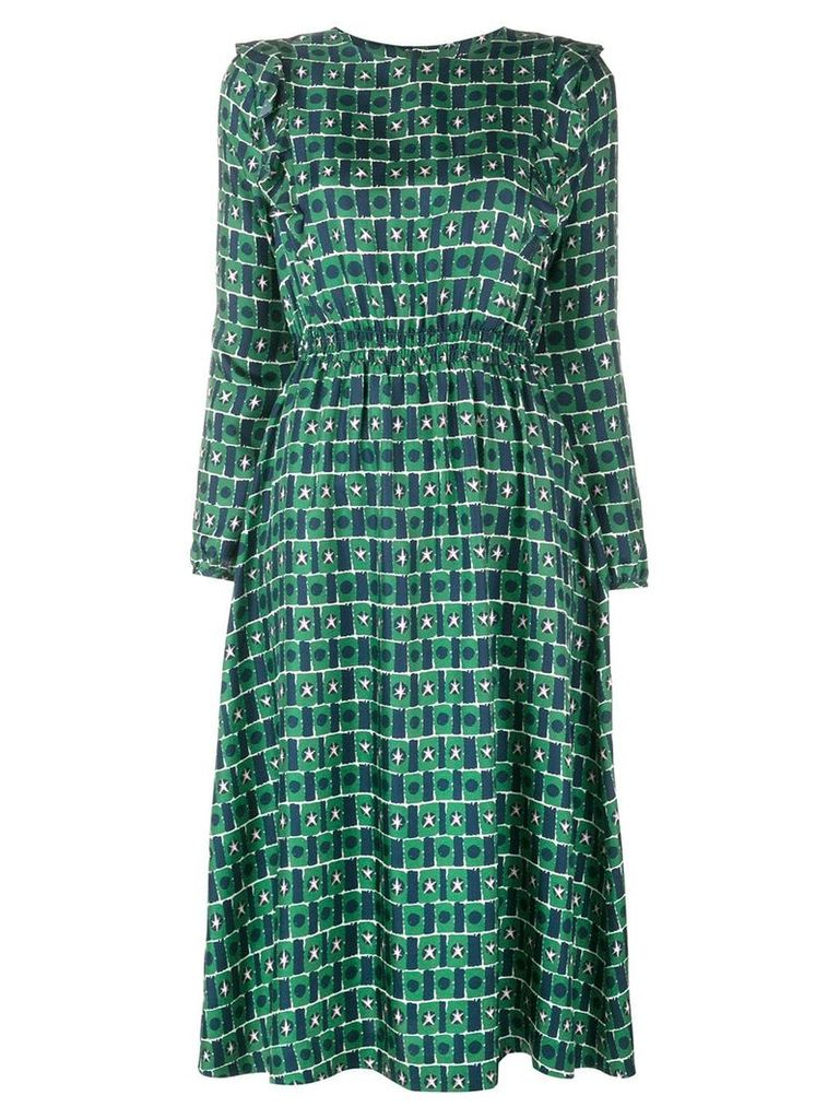 Chinti & Parker geometric flared midi dress - Green