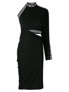 Versace cornici trim one shoulder dress - Black