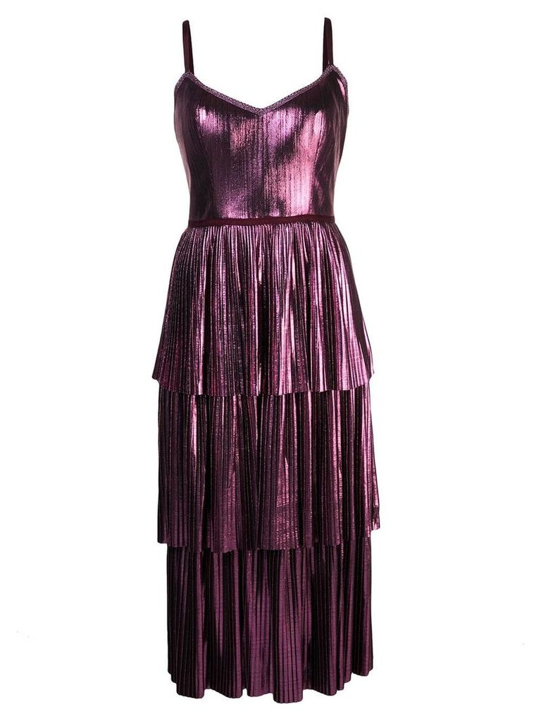 Marchesa Notte pleated midi dress - Purple