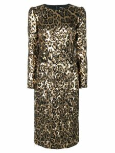 Dolce & Gabbana sequined leopard-print midi dress - Gold