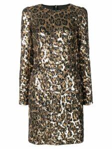 Dolce & Gabbana sequined leopard-print mini dress - Gold