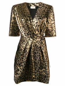 Sara Battaglia leopard wrap dress - Gold