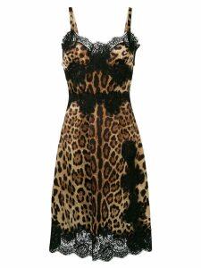 Dolce & Gabbana leopard print flared midi dress - Brown