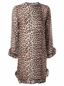 Ganni leopard print mini dress - Brown
