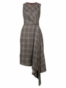 Adam Lippes plaid asymmetric dress - Grey