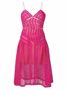 Self-Portrait flared midi dres - Pink