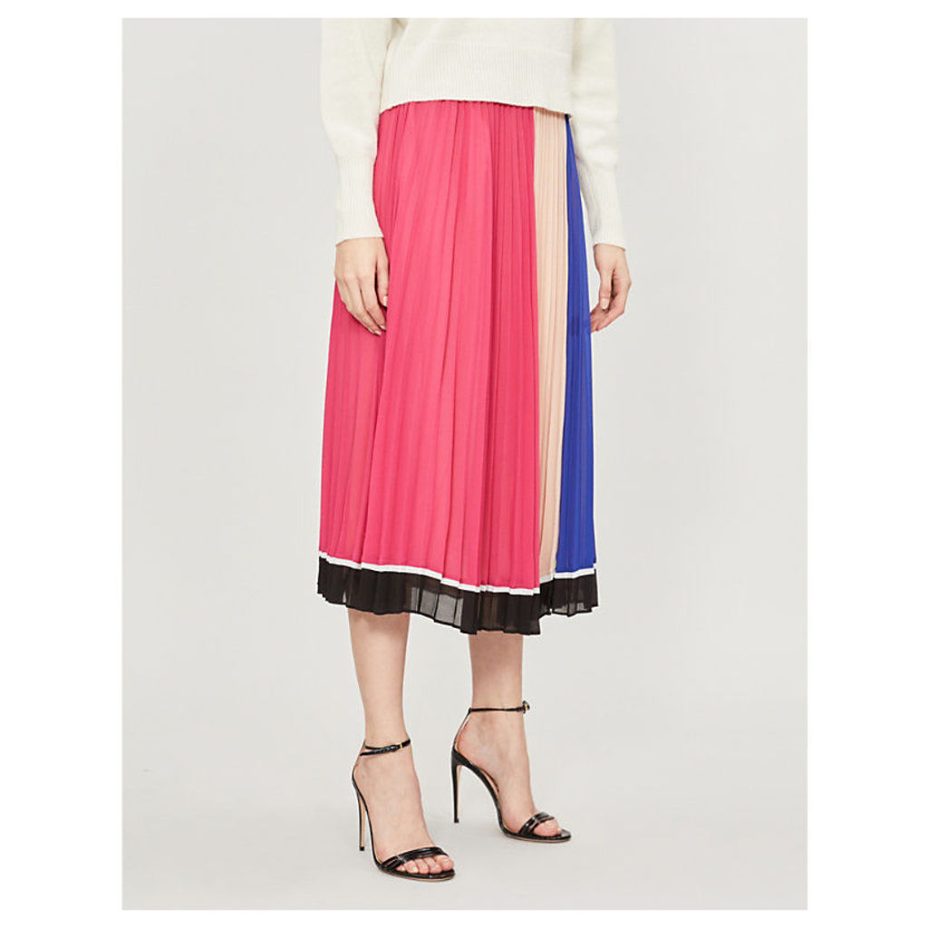 Striped pleated chiffon midi skirt