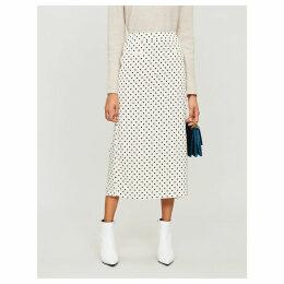 Mina polka dot-print crepe midi skirt