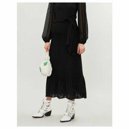 Addison ruffled stretch-crepe midi skirt
