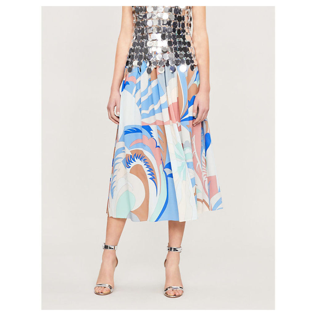 Pleated printed silk-crepe midi skirt