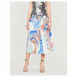 Pleated printed silk-crepe midi skirt