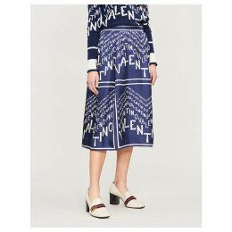 Logo-print silk-satin midi skirt