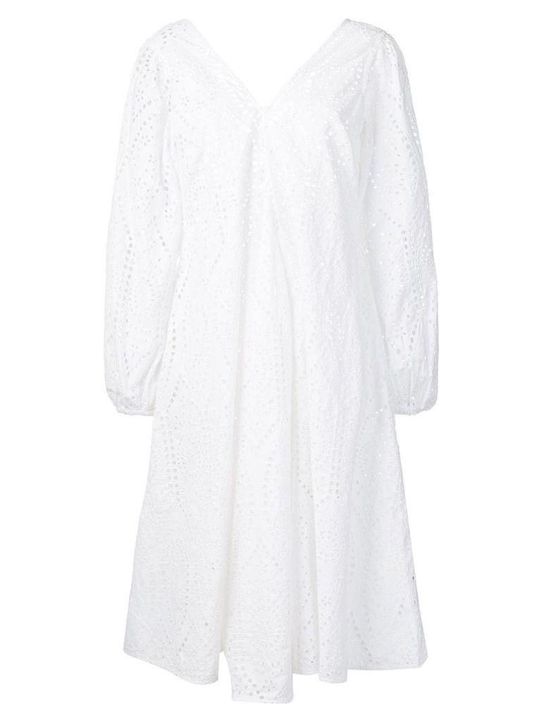 Ganni broderie anglaise dress - White