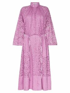 Tibi high neck lace midi dress - Pink