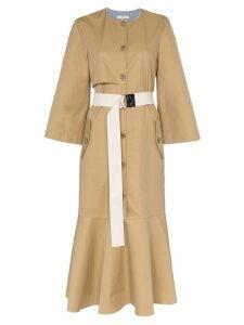 Tibi belted trench coat midi dress - Neutrals