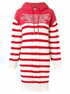 Each X Other Mix Media Striped Sailor Knit Hoodie Dress - Red