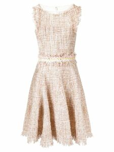 Talbot Runhof tweed ruffled dress - Neutrals