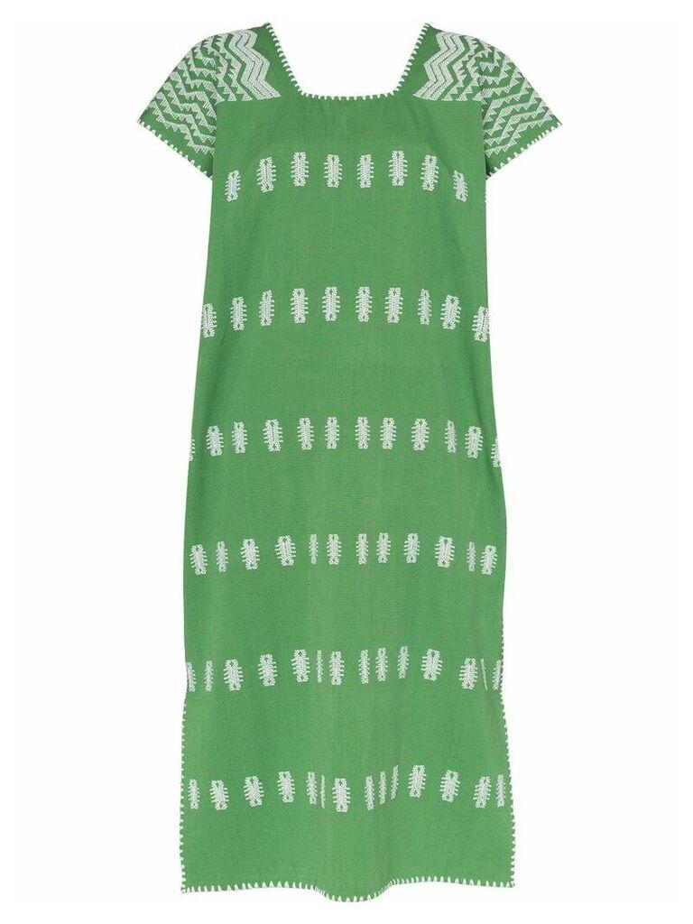 Pippa Holt embroidered cap sleeve kaftan dress - Green
