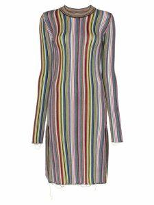 Marques'Almeida long sleeve striped wool dress - Multicoloured