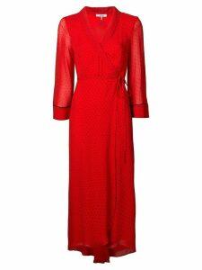 Ganni polka-dot wrap dress - Red