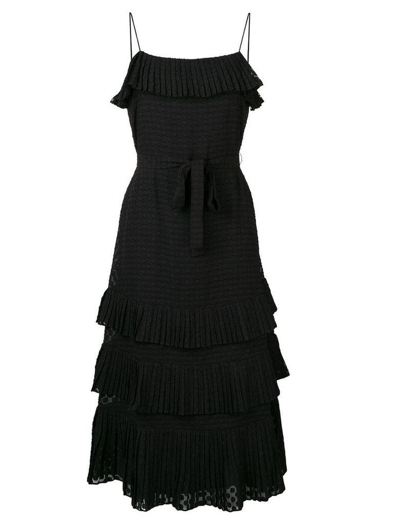 Zimmermann plissé chiffon midi dress - Black