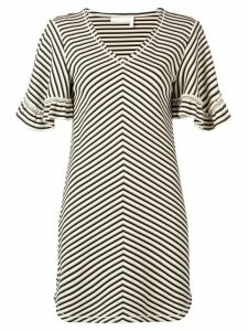 See By Chloé chevron frilled sleeve mini dress - NEUTRALS