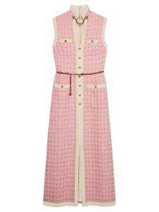 Gucci Long tweed dress with chain belt - Pink