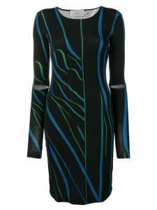 Preen By Thornton Bregazzi distorted stripe fitted dress - Black