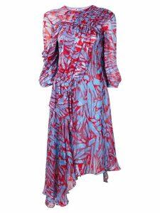 Preen By Thornton Bregazzi abstract print gathered dress - Blue
