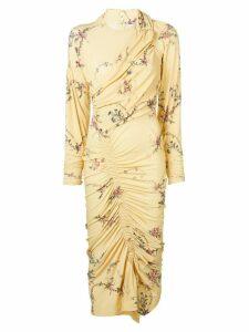 Preen By Thornton Bregazzi floral print ruched dress - Yellow